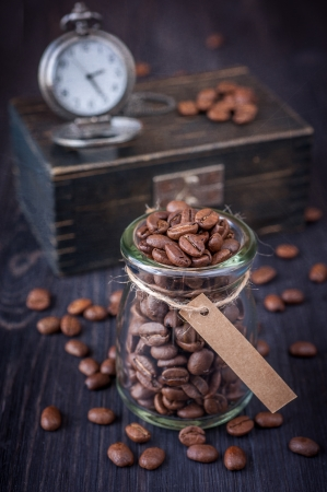 Coffee beans in a vintage style photo
