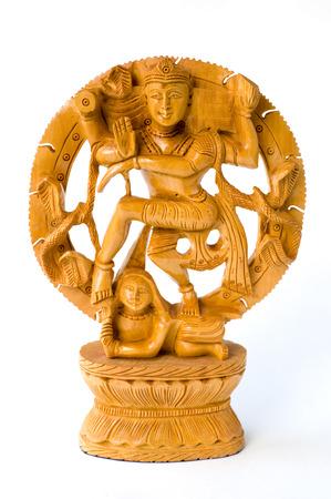 Dancing Shiva. Wooden statue Stock Photo