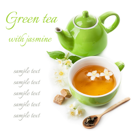 tea hot drink: Green jasmine tea with a removable sample text