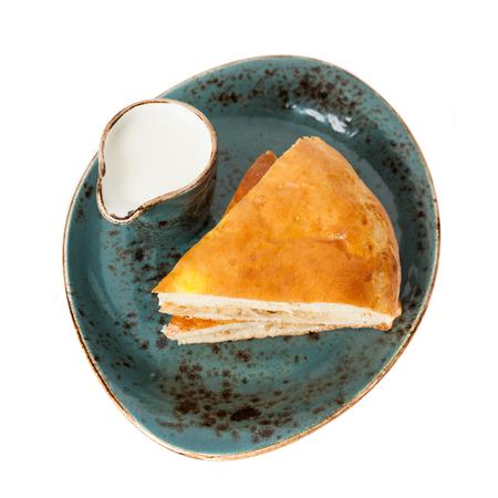 Homemade pie and milk photo