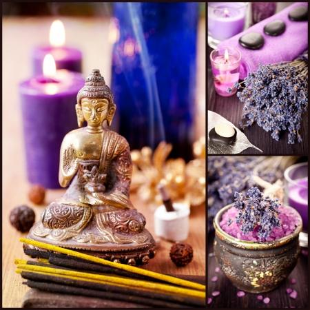 Collage Spa, meditáció, aromaterápia és levendula