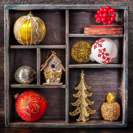 Christmas Toys And Decorations In Old Vintage Wooden Box Stock Photo Custom Decorating With Old Wooden Boxes