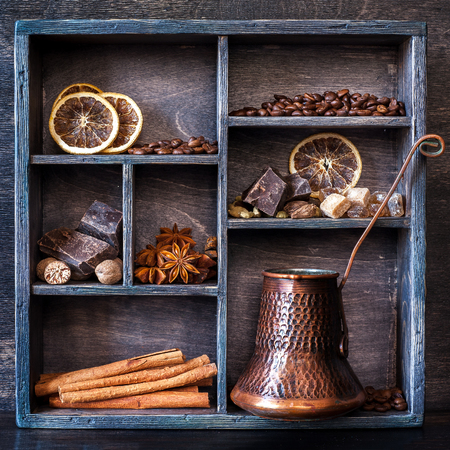 coffee pot: Spices, coffee and chocolate in a vintage wooden box