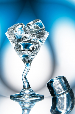 mineral water (cocktail) with ice in glass Stock Photo - 22994911