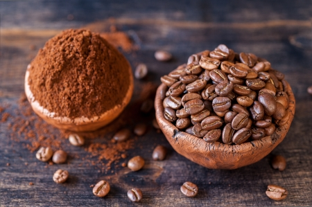 Roasted coffee beans and ground coffee in bowls photo