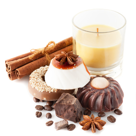 Handmade soap with coffee, chocolate and cinnamon. Body care and spa. photo