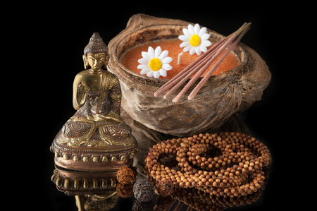 incense sticks: Spa concept with Buddha statue, incense sticks and candle