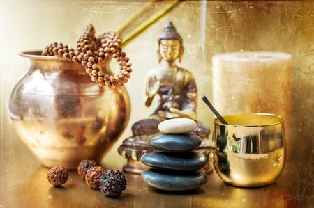 oncept: Statue of Buddha, zen stones, incense. Сoncept of meditation Stock Photo