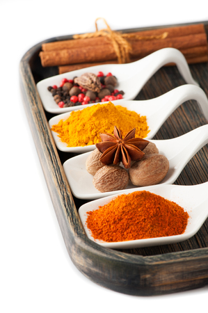 Colorful spices in wooden tray photo
