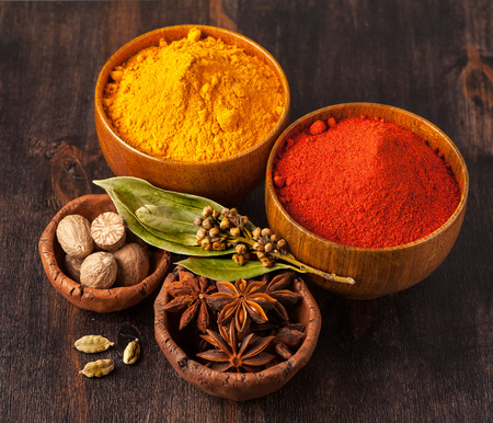 Spices Curry, paprika, nutmeg, cardamom, bay leaf