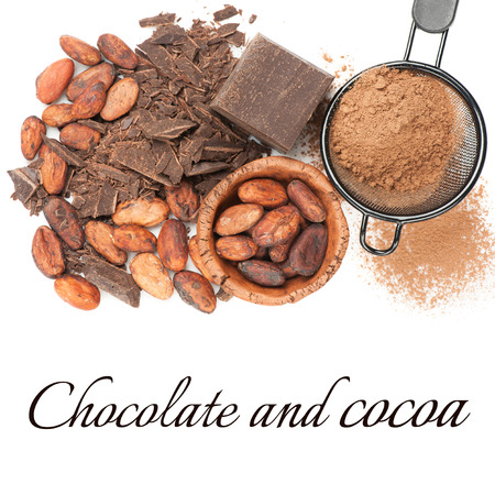 Chocolate, cocoa beans and cocoa powder photo