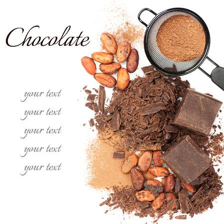 Chocolade, cacaobonen en cacaopoeder Stockfoto