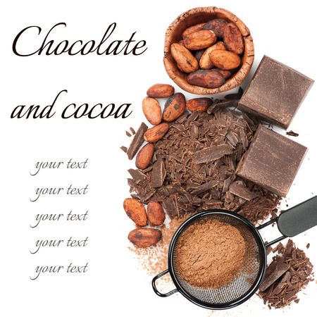 Chocolate, cocoa beans and cocoa powder on white background