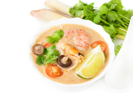 Tom yam. Traditional Thai spicy soup. Seafood. photo