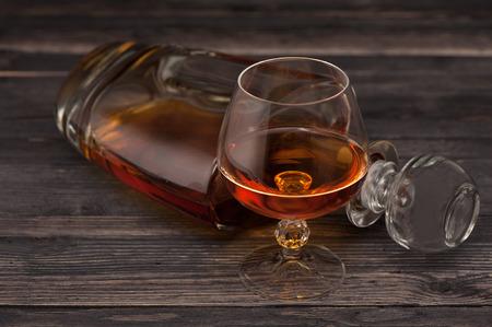 Cognac on  wooden