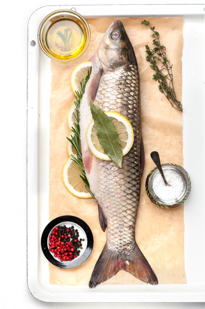 raw fish: Raw fish carp with spices and herbs