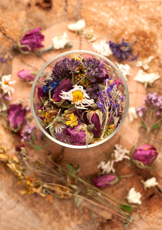 Dried herbs and flowers photo