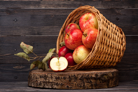 Red apples in basket photo