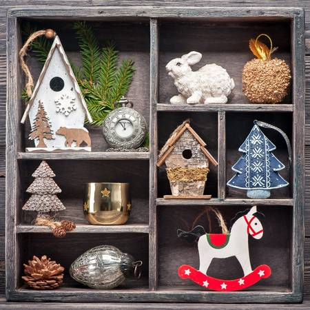 Christmas decoration in a wooden vintage box. Christmas collage photo