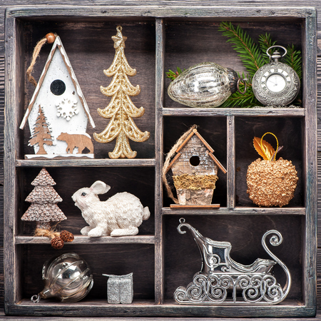 Christmas decorations and Christmas toys in wooden box. Сollage