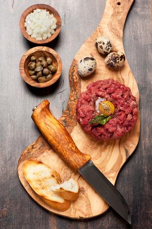 steak tartare: beef tartar with egg Stock Photo