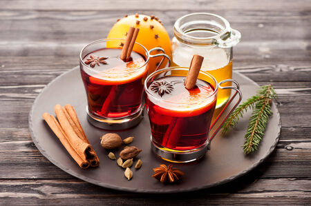 warm drink: Christmas mulled wine with spices and honey