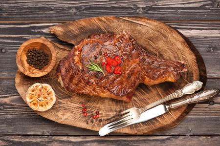 Hús Ribeye steak entrecote. Felülnézet