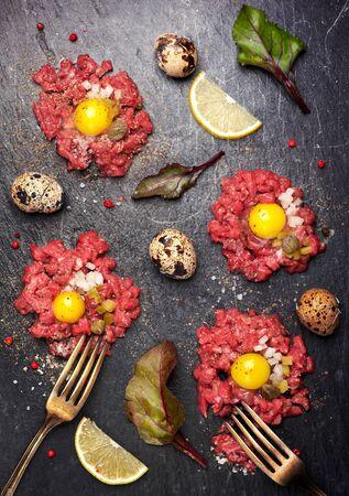 steak tartare: Beef tartare.  Top view. See series Stock Photo