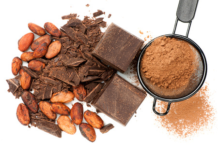 Chocolate and cocoa on white background