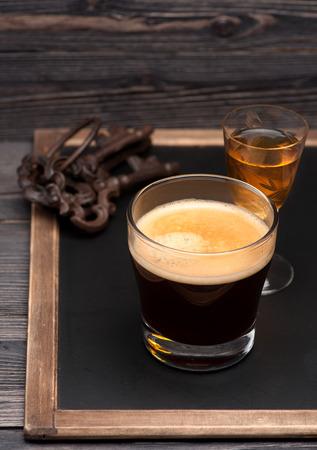 cognac: espresso coffee with cognac Stock Photo