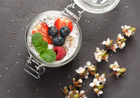 cocotier: Chia pouding au lait de coco et fruits frais. vue de dessus Banque d'images