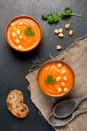 crouton: Chickpeas or pea soup. top view