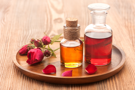 fragrant: Rose essential oil, flowers and petals rose.  Horizontal