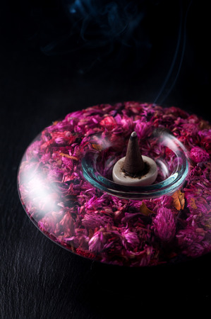 incense sticks: Spa aromatherapy meditation. Incense sticks and flowers