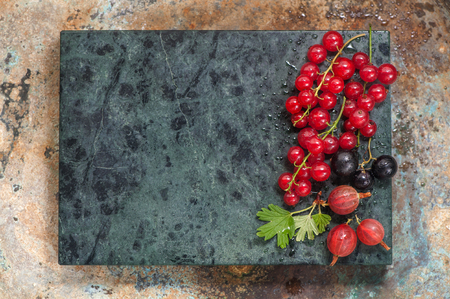 black currants: Summer berries on metallic background with space for text. Red currants, black currants and gooseberries