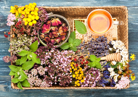 Herbal Medicine. herbs and flowers in basket. Top view, horizontal