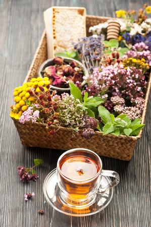Gedroogde en verse kruiden en bloemen en kruidenthee. Kruidenmedicijn