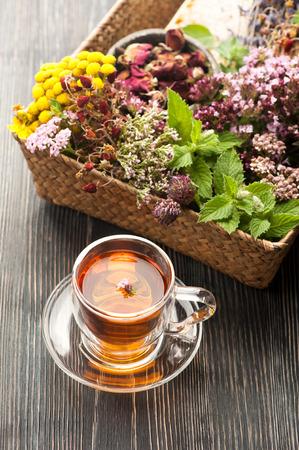 Gedroogde en verse kruiden en bloemen en kruidenthee. Kruidenmedicijn Stockfoto - 44189929
