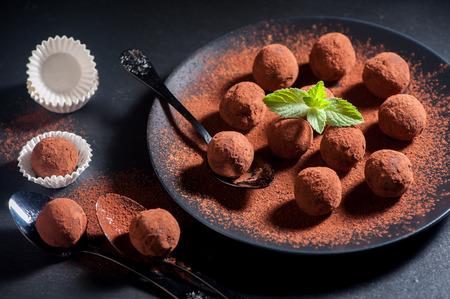 Chocolade truffels Stockfoto