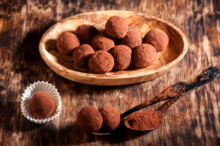 Chocolate truffles, horizontal