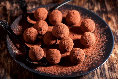 wooden handmade: Chocolate truffles handmade close-up, horizontal