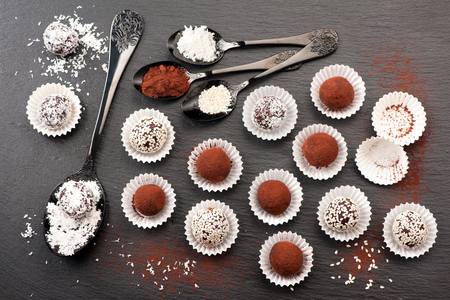 truffles: Assorted chocolate candy truffles
