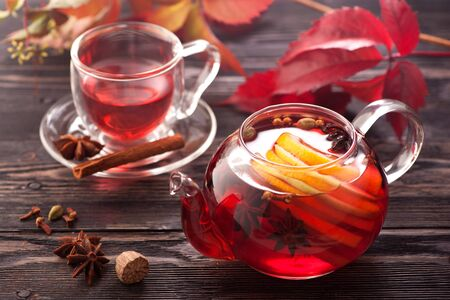 mulled wine: Mulled wine in a teapot