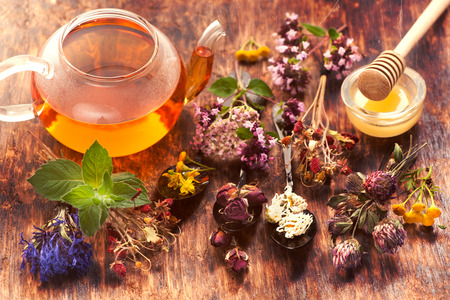 Herbal tea, herbs and flowers, herbal medicine. Stock Photo