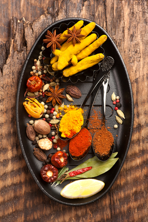 indian food: Spices, seasonings and spicy. Top view