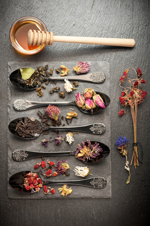 green and black: Dried herbs, flowers  and fragrant teas