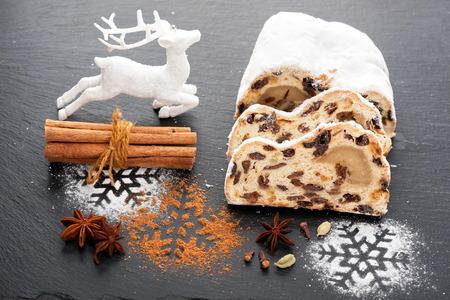 stollen: Christmas Stollen. Christmas background Stock Photo