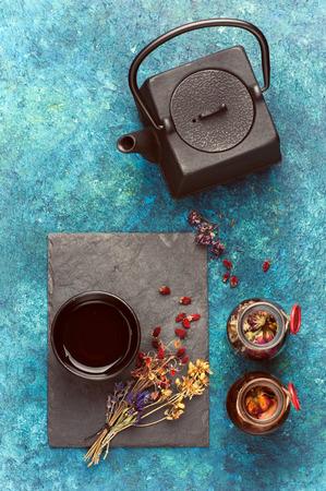 chamomilla: herbal tea and dried herbs.   herbal medicine