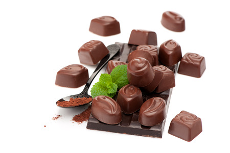 chocolate candy: chocolate bar and chocolate candy on a white background Stock Photo