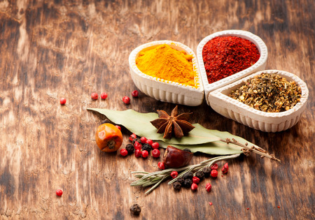 seasonings: Seasonings, spices on a wooden background